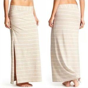 Athleta Serafina Tan Striped Maxi Skirt Medium